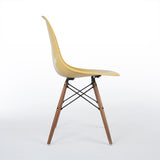 Side view of Ochre Herman Miller Vintage Original Eames DSW Side Shell Chair