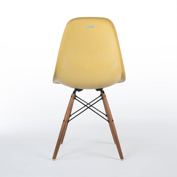 Back view of Ochre Herman Miller Vintage Original Eames DSW Side Shell Chair