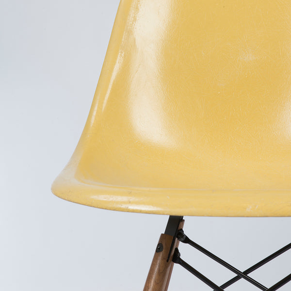 Closed up view of Ochre Herman Miller Vintage Original Eames DSW Side Shell Chair