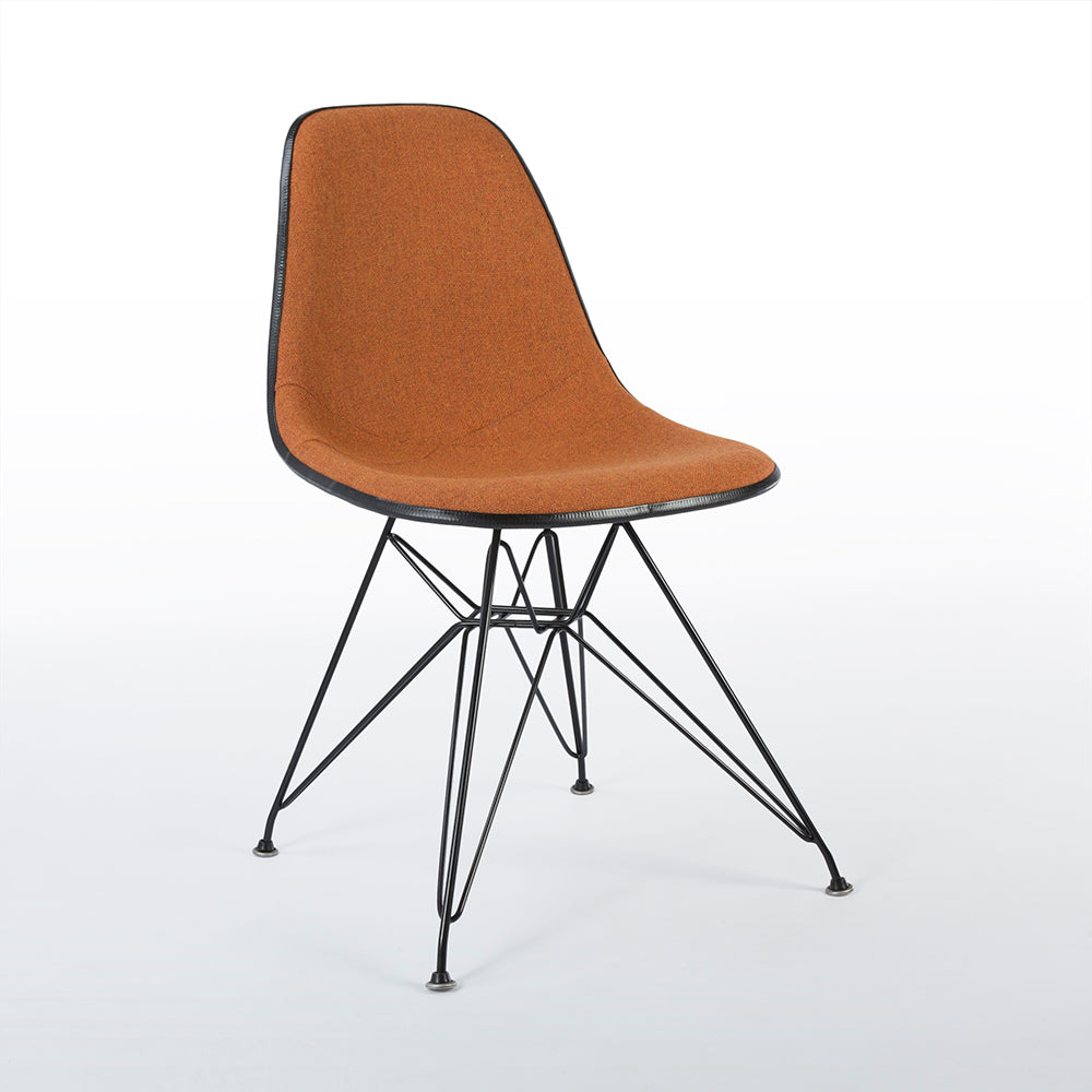 Front right side view of Speckled Orange And White Herman Miller Eames Original DSR Side Shell Chair