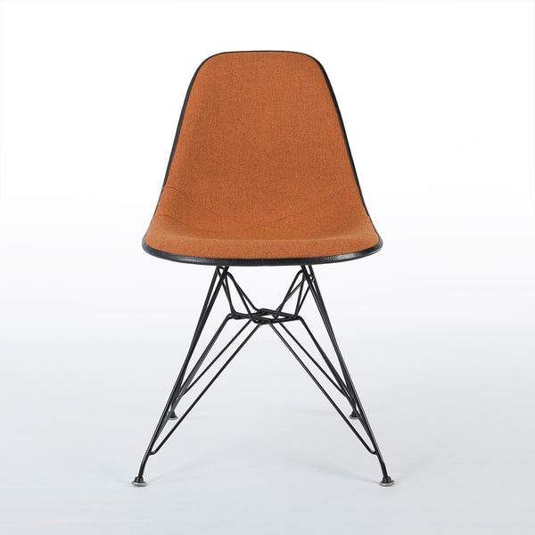 Front view of Speckled Orange And White Herman Miller Eames Original DSR Side Shell Chair