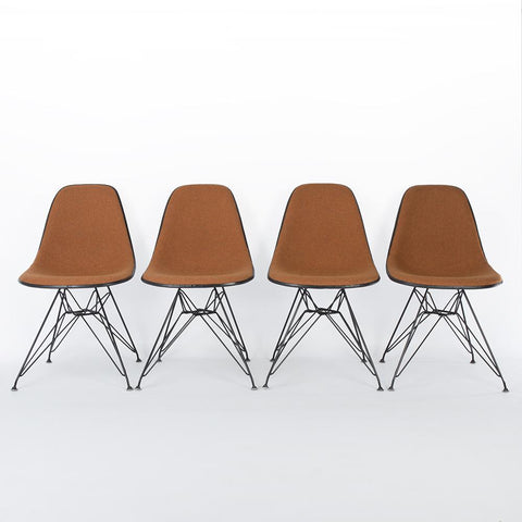 Orange Marmalade Set (4) Herman Miller Original White Eames DSR Side Shell Chairs