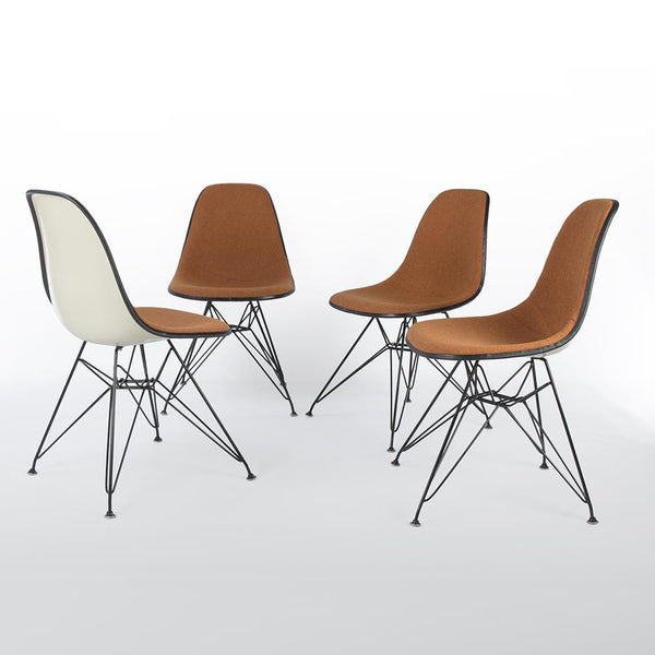 Front and side view of A Set of 4 Orange & White Herman Miller Eames Original DSR Side Shell Chair