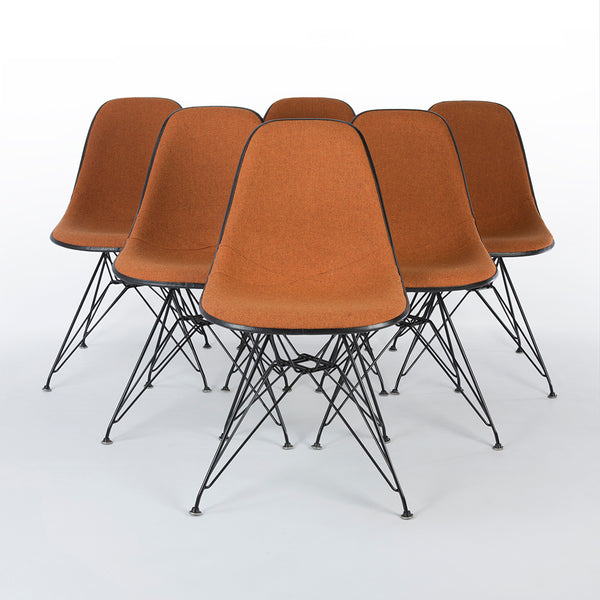 Orange Marmalade Set (6) Herman Miller Original White Eames DSR Side Shell Chairs