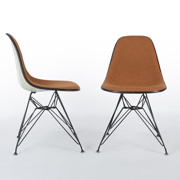 Front and side view of A Pair Of Speckled Orange And White Herman Miller Eames Original DSR Side Shell Chair