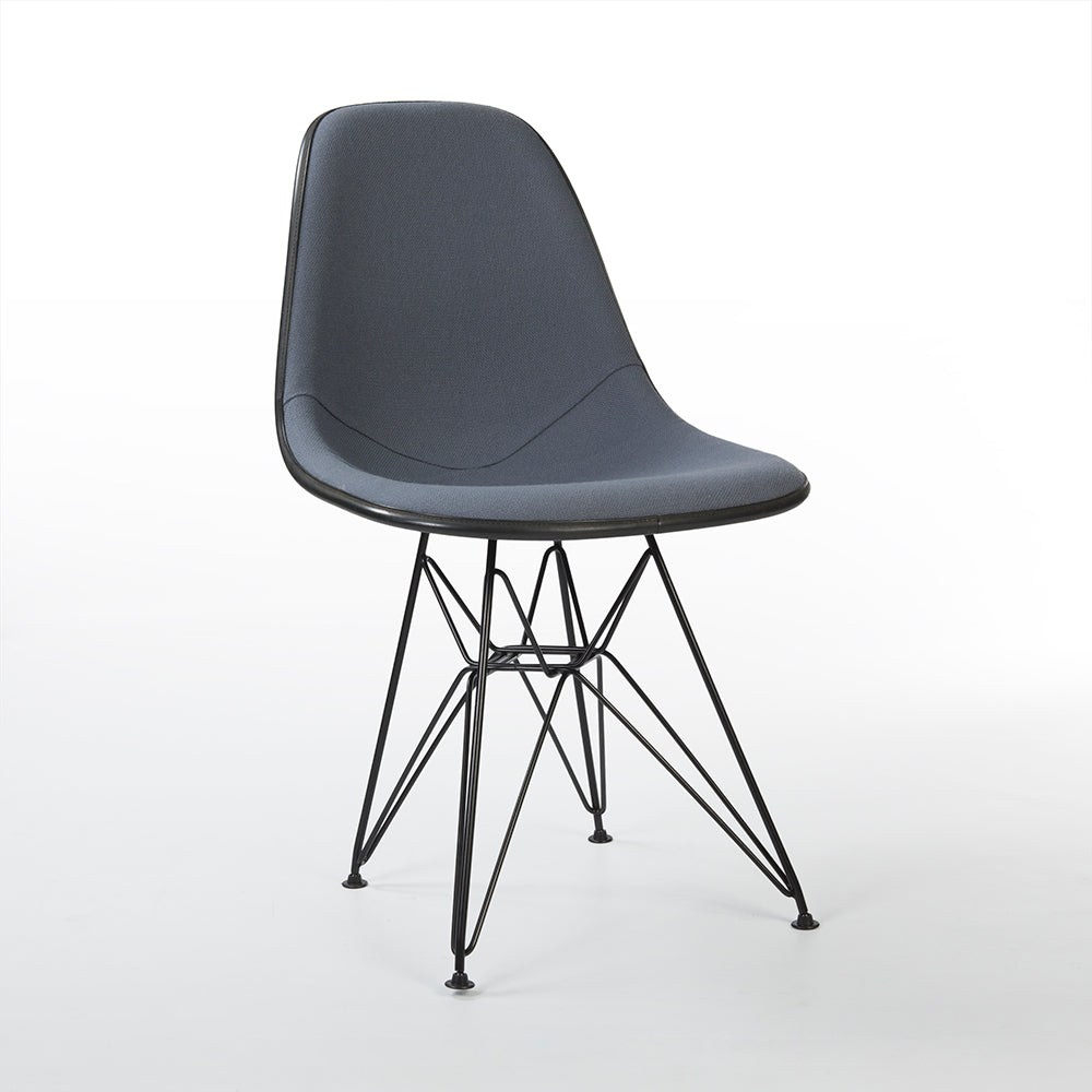 front view of Grey Herman Miller Original Eames Upholstered Black DSR Side Shell Chairs
