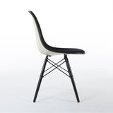Right side view of black on white upholstered Eames DSW chair