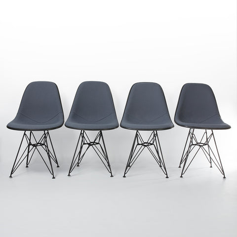 Grey Set (4) Herman Miller Original Eames Upholstered Black DSR Side Shell Chairs