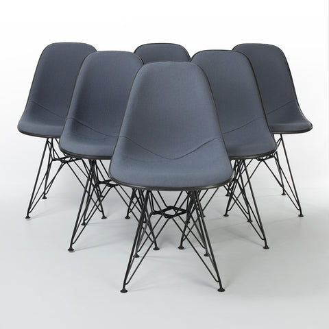 Grey Set (6) Herman Miller Original Eames Upholstered Black DSR Side Shell Chairs