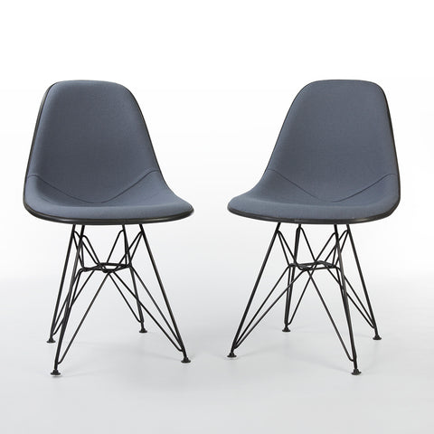 Grey Pair Herman Miller Original Eames Upholstered Black DSR Side Shell Chairs