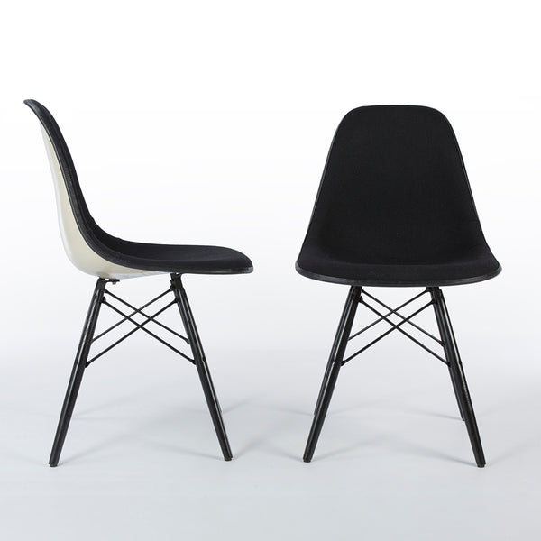 Pair of black on white upholstered Eames DSW chairs from front and right side