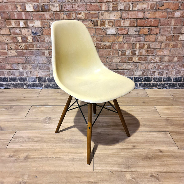 Front side view of Parchment Herman Miller Eames Original DSW Side Shell Chair