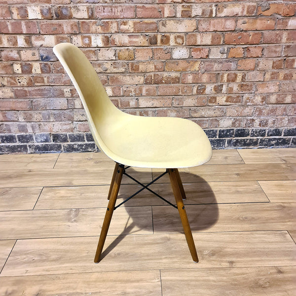 Side view of Parchment Herman Miller Eames Original DSW Side Shell Chair