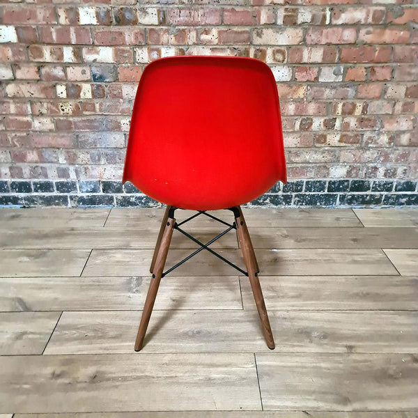 Back view of Red Light Herman Miller Original Vintage Eames DSW Side Shell Chair
