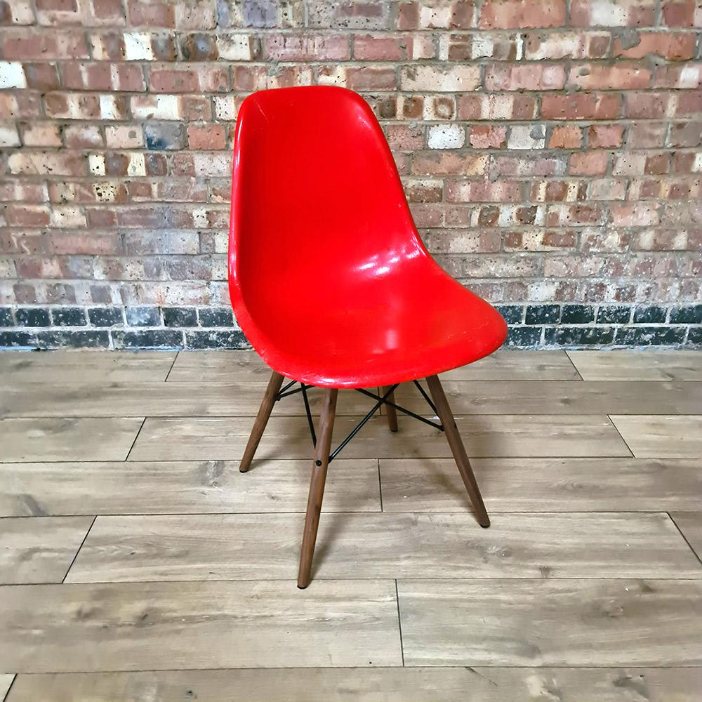 Front view of Red Light Herman Miller Original Vintage Eames DSW Side Shell Chair