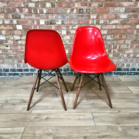 Red Pair (2) Herman Miller Original Vintage Eames DSW Side Shell Chairs