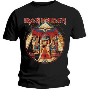 Iron Maiden Unisex Tee: Powerslave Lightning Circle
