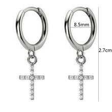 Hoop Earrings with Cross Charm