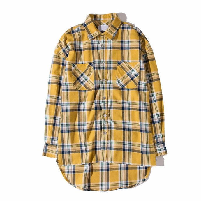 Oversized Curved Hem Shirt, Yellow | Kitsch Kandy Clothing - Tomboy Styles