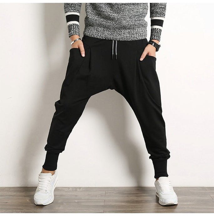 Drop-Crotch Joggers, Black