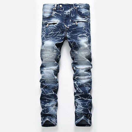 ZAN Slim Fit Biker Jeans, Blue | Kitsch Kandy Clothing - Tomboy Styles