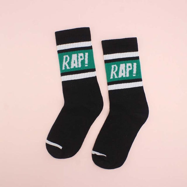 RAP Sports Socks, Black | Kitsch Kandy Clothing - Tomboy Styles