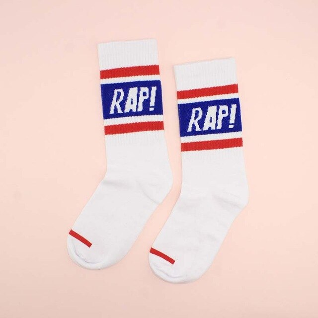 RAP Sports Socks, White w/ Blue | Kitsch Kandy Clothing - Tomboy Styles