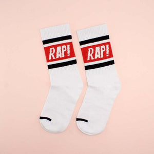 RAP Sports Socks, White w/ Red - Kitsch Kandy Clothing