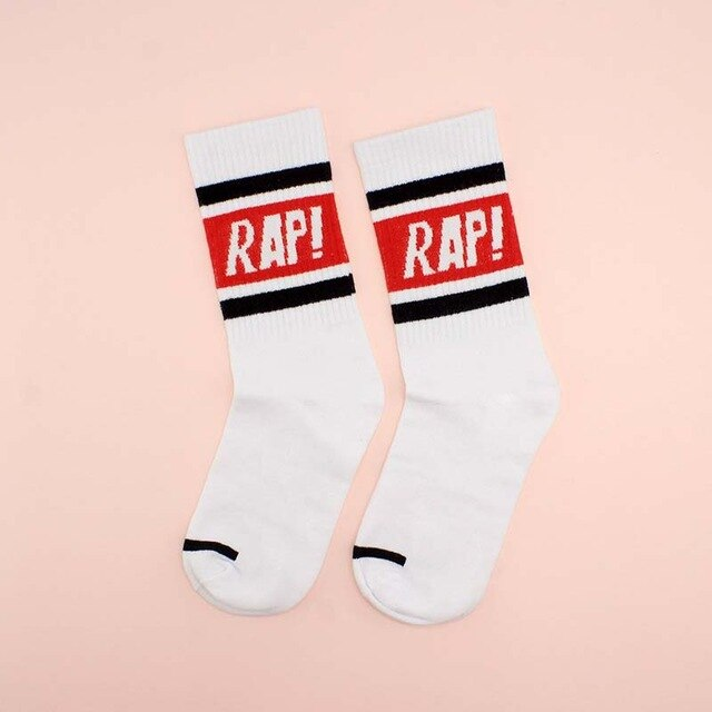 RAP Sports Socks, White w/ Red | Kitsch Kandy Clothing - Tomboy Styles