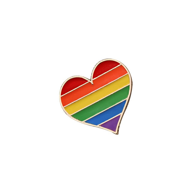 RAINBOW HEART Pin | Kitsch Kandy Clothing - Tomboy Styles