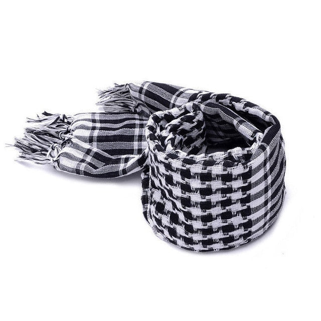 Checked Scarf, White