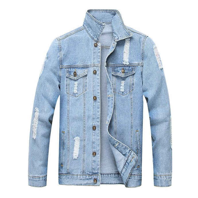 Ripped Slim-Fit Denim Jacket, Light Blue | Kitsch Kandy Clothing - Tomboy Styles