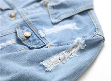 Ripped Slim-Fit Denim Jacket, Light Blue - Kitsch Kandy Clothing