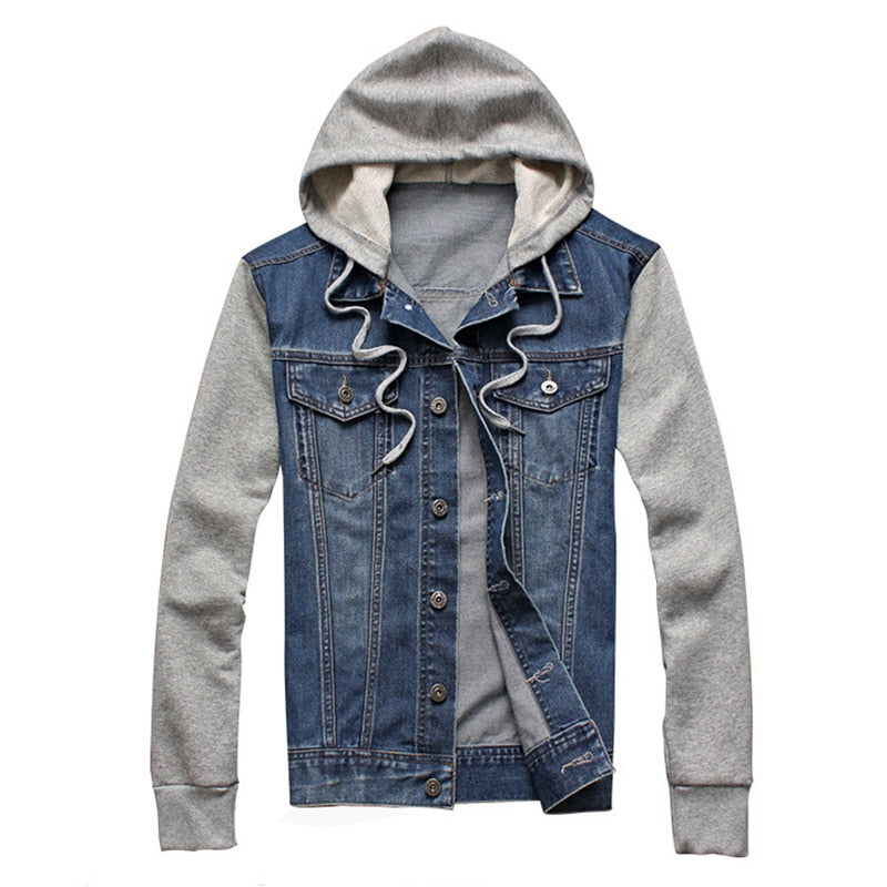 Hooded Denim Jacket, Faded Blue