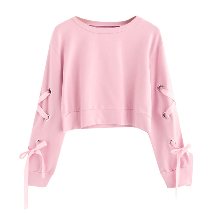 Lace Cropped Sweatshirt, Pink - Kitsch Kandy Clothing
