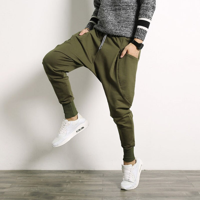 Drop-Crotch Joggers, Khaki