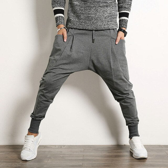 Drop-Crotch Joggers, Grey