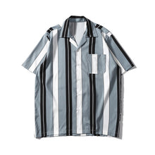 Striped Printed Shirt, Grey | Kitsch Kandy Clothing - Tomboy Styles