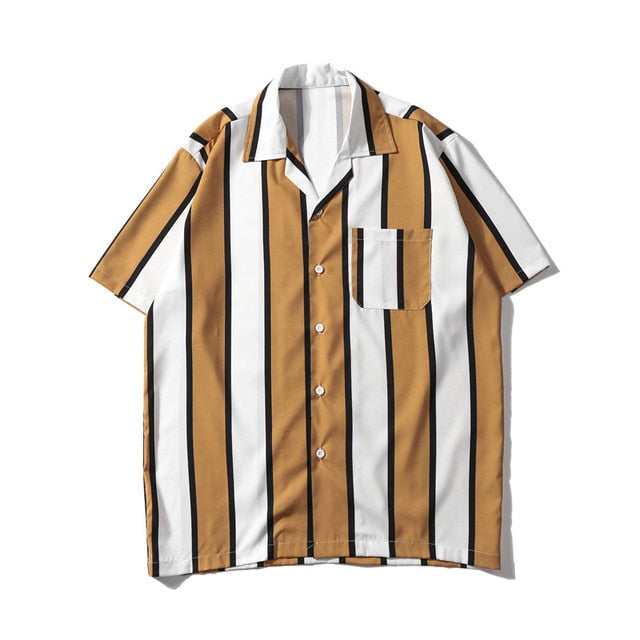 Striped Printed Shirt, Brown | Kitsch Kandy Clothing - Tomboy Styles