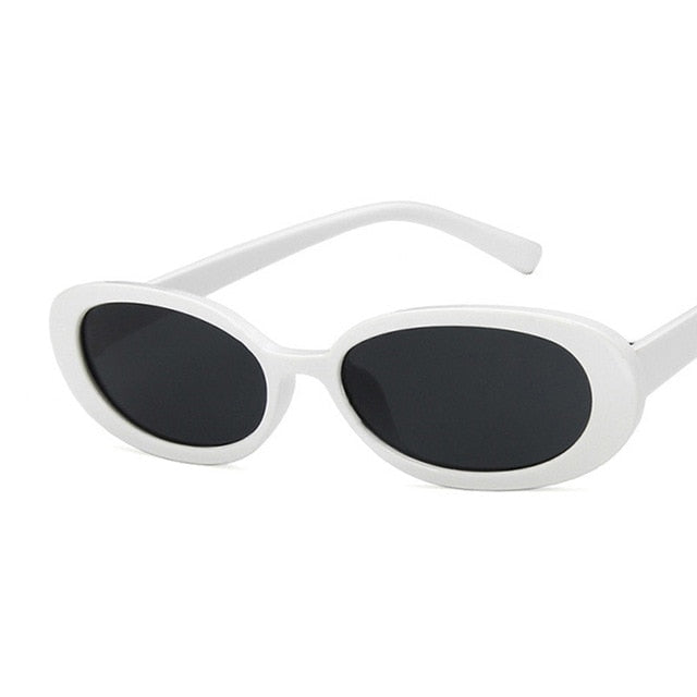 Oval Sunglasses, White | Kitsch Kandy Clothing - Tomboy Styles