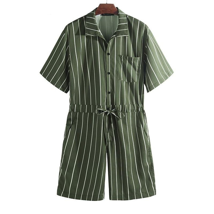 Stripped Jumpsuit, Green | Kitsch Kandy Clothing - Tomboy Styles