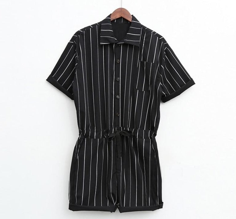 Stripped Jumpsuit, Black | Kitsch Kandy Clothing - Tomboy Styles