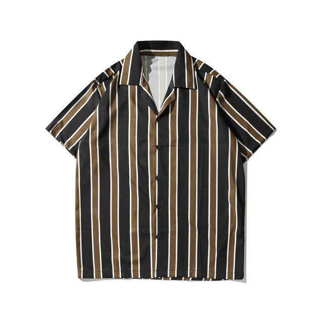 Striped Printed Shirt, Black | Kitsch Kandy Clothing - Tomboy Styles