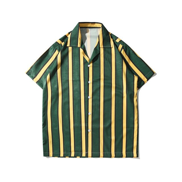 Striped Printed Shirt, Green | Kitsch Kandy Clothing - Tomboy Styles