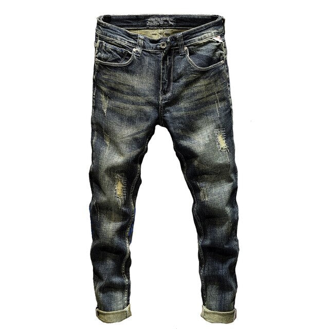 Distressed Stretch Slim Jeans in Washed