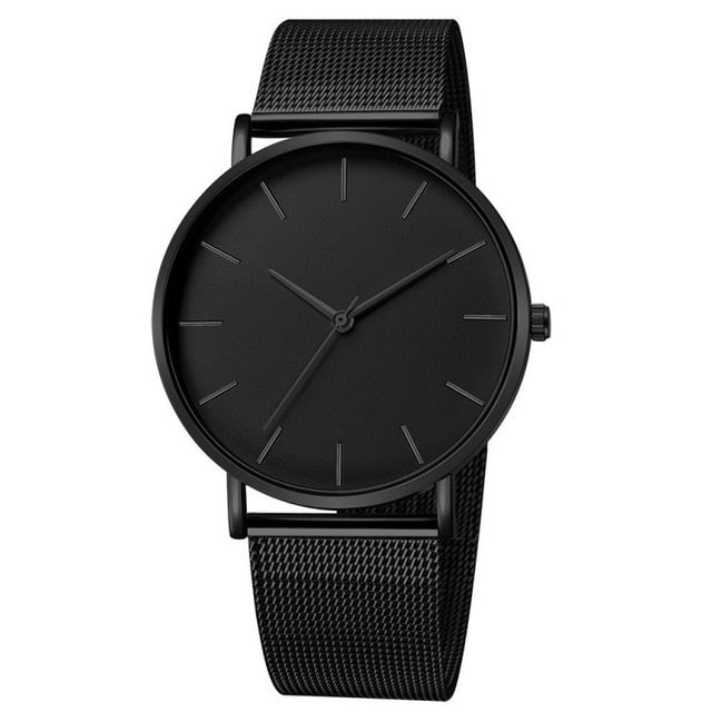 Mesh Strap Watch In Black Tone