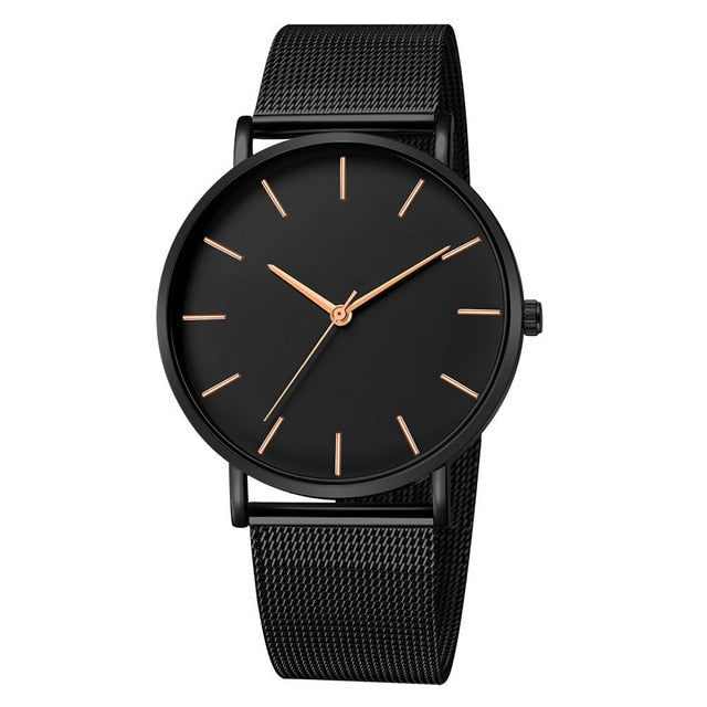 Mesh Strap Watch with Rose Detail in Black Tone