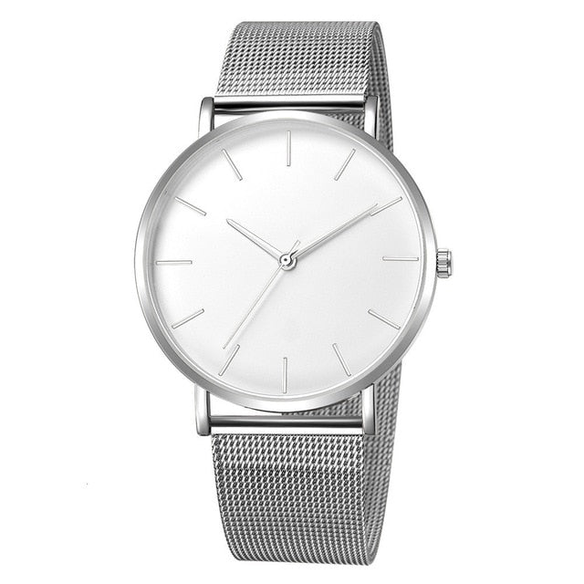 Mesh Strap Watch In Silver Tone