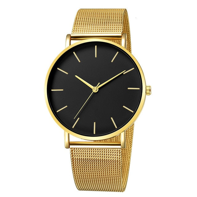 Mesh Strap Watch with Black Detail in Gold Tone