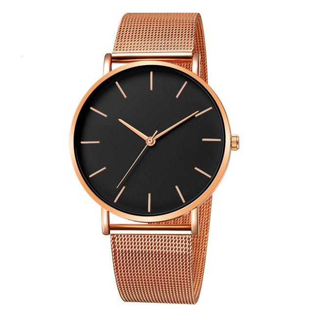 Mesh Strap Watch with Black Detail in Rose